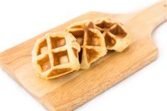 Малый waffle на деревянной плите Стоковое Фото