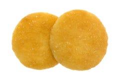 2 малых ванильных печенья вафли на белой предпосылке Стоковое фото RF