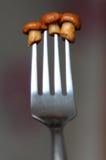 3 малых гриба лисички на вилке Стоковые Изображения