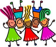 малыши группы счастливые иллюстрация вектора