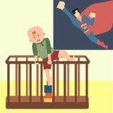 Малыш пробуя взобраться из шаржа playpen смешного иллюстрация штока