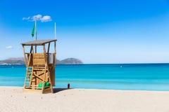 Мальорка может пляж Picafort в заливе Майорке alcudia Стоковая Фотография