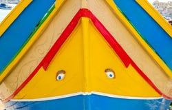 Мальтийсная традиционная шлюпка Luzzu, Marsaxlokk, Мальта деталь Стоковое Изображение RF