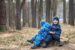 2 мальчика играя, на ландшафте осени, сидя и усмехаясь корень дерева Стоковое Изображение