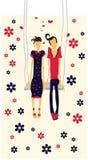 мальчика карточки пар дня девушки иллюстрации влюбленности valentines совместно Стоковое фото RF