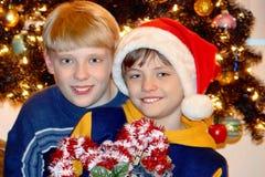 2 мальчика приближают к рождественской елке стоковые фотографии rf