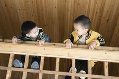 Мальчики взбираются деревянный усовик Стоковые Изображения