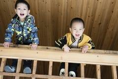 Мальчики взбираются деревянный усовик Стоковые Изображения RF