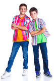 Мальчики в студии Стоковые Фотографии RF