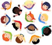 Мальчики и европейцы девушек, африканцы, китайцы, японцы, русский, иллюстрация штока