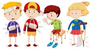 Мальчики и девушка с сломленными косточками бесплатная иллюстрация