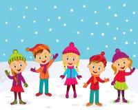 Мальчики и девушки в зиме иллюстрация штока