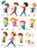 Мальчики и девушки в много действий иллюстрация вектора