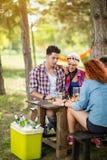 Мальчики и девушки в парах играют пиво шахмат и пить холодное в природе Стоковое Изображение RF