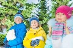 Мальчики и девушки с снегом в парке Стоковое фото RF