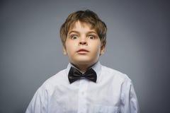 Мальчики крупного плана вспугнутые и сотрясенные Портрет съемки студии над серой предпосылкой Человеческое выражение стороны эмоц Стоковая Фотография
