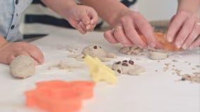 Мальчики порции матери для того чтобы сделать животные печенья Стоковая Фотография