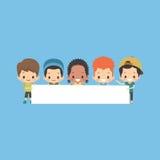 Мальчики с пустым знаменем Иллюстрация вектора