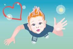 Мальчик абстрактной графической иллюстрации стильный романтичный Стоковые Фото