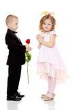 Мальчик дает девушке цветок стоковая фотография rf