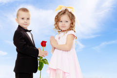 Мальчик дает девушке цветок стоковое изображение