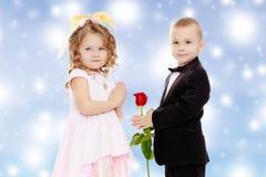Мальчик дает девушке цветок стоковые изображения