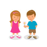 Мальчик дает цветок девушки первая влюбленность связанный вектор Валентайн иллюстрации s 2 сердец дня Стоковые Фото