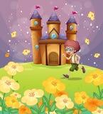 Мальчик бежать перед замком с цветками иллюстрация штока