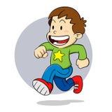 Мальчик бежать счастливо иллюстрация вектора
