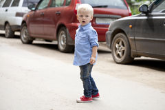 мальчик блондинкы младенца Стоковая Фотография