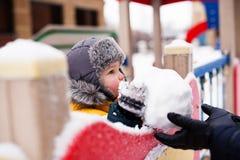 Мальчик ваяет снеговик Стоковая Фотография RF