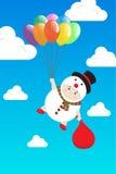 Мальчик вектора в костюме снеговика держа красочный воздушный шар в небе дня голубом Стоковое Изображение RF