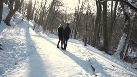 Мальчик встречает девушку в парке зимы акции видеоматериалы