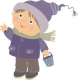 Мальчик в крышке и куртке зимы иллюстрация штока