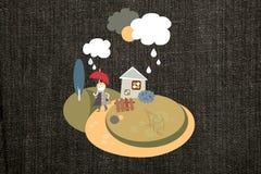 Мальчик в дожде стоковое изображение rf
