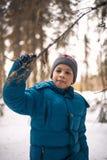 Мальчик в древесинах зимы Стоковое фото RF