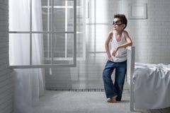 Мальчик в роли пилота Стоковые Фотографии RF