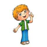 Мальчик в рубашке шотландки с идеей на белизне Стоковые Фотографии RF