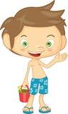 Мальчик в шортах доски Стоковые Фотографии RF