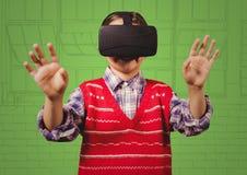 Мальчик в шлемофоне виртуальной реальности против зеленой окон нарисованных рукой иллюстрация штока
