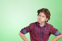 мальчик глубоки думая стоковое фото rf