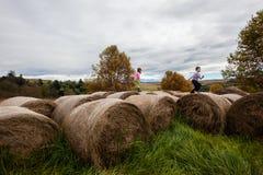 Мальчик девушки играя связки фермы Стоковые Изображения