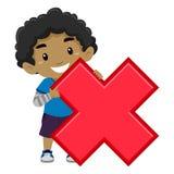 Мальчик держа символ умножения Стоковая Фотография RF
