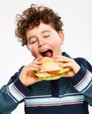 Мальчик есть большой сандвич Стоковое Изображение