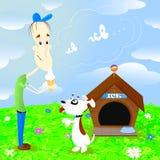 Мальчик есть мороженое и вызывая собаку бесплатная иллюстрация