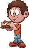 мальчик есть сандвич иллюстрация штока