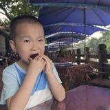 Мальчик есть bayberry стоковые изображения