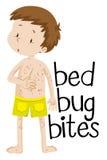 Мальчик имея укусы черепашки кровати бесплатная иллюстрация