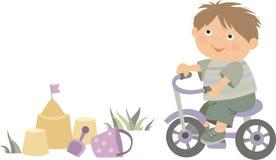Мальчик и велосипед иллюстрация вектора