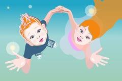 Мальчик и девушка абстрактной графической иллюстрации стильный романтичный Стоковая Фотография